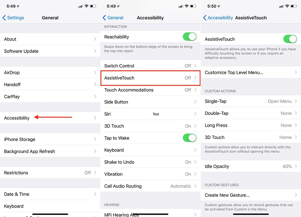 How to enable Assistive Touch on iPhone
